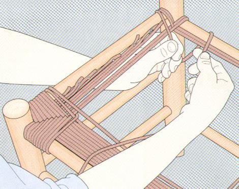 Плетение из веревок сиденья для стула 1. Плетение из веревок сиденья для...