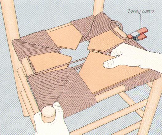 Плетение из веревок сиденья для стула 2. Плетение из веревок сиденья для...