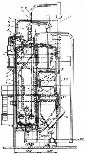 Конструкция комбинированного пароводогрейного котла КВП‑40/30